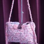 手編み横掛けバッグピンク